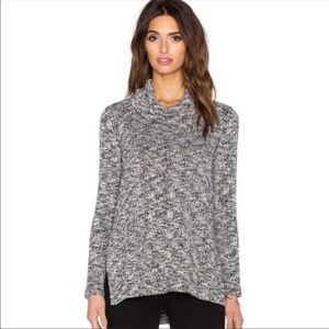 Splendid Marled Chunky Knit Cowl Neck Sweater L